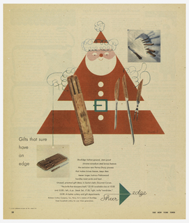 A triangular Santa Clause, a table before him covered with knives. Text at lower left: Gifts that sure / have / an / edge; Below, Shur Edge logo in green.