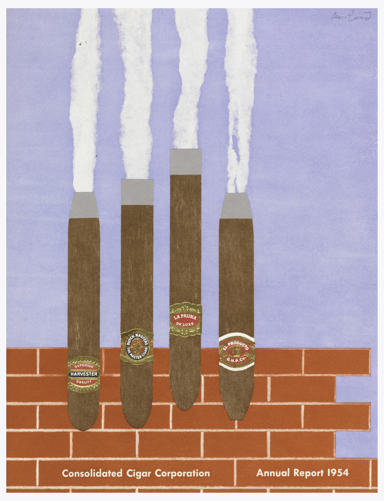 Cover showing four cigars as factory smokestacks on brick ground and light blue sky. In white text, below: Consolidated Cigar Corporation Annual Report 1954.
