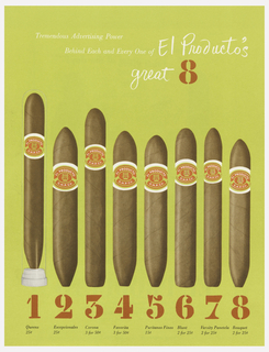 On a light green ground, eight standing cigars with labels; cigars numbered in red underneath. The first stands inside a clear tube. White text above: Tremendous Advertising Power / Behind Each and Every One of El Producto's / great 8.