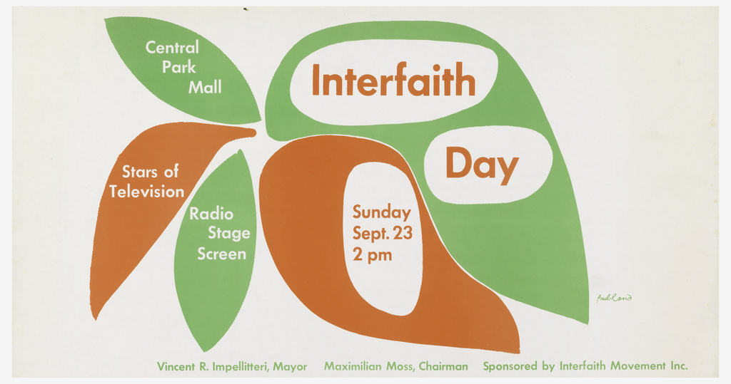 On stylized orange and green leaves, text in white and orange: Central / Park / Mall; Interfaith / Day / Stars of / Television; Radio / Stage / Screen; Sunday / Sept. 23 / 2 pm; lower margin, in green: Vincent R. Impellitteri, Mayor Maximilian Moss, Chairman Sponsored by Interfaith Movement Inc.