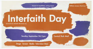 Faux brushstrokes in red and blue with white text: Vincent R. Impellitteri, acting mayor; William Jansen, Chairman / Interfaith Day / Sponsored by Interfaith Movement, Inc. / Sunday, September 24, 2 pm; Central Park Mall / Stage Screen Radio Television Stars.