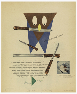 New York Times Magazine advertisement page. A stylized owl made up of triangles with a knife in its beak. Three knives scattered over text in lower section. Lower right, image of knives in wooden block. Below, Shur Edge logo in green.