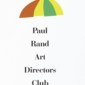 On white ground, imprinted in red, yellow, and green, upper edge, center, a striped umbrella.  Imprinted in black ink, down center, from upper to lower edge, Paul Rand, title, date, and time of exhibition.  Imprinted in red, lower edge, center, two boots (heels facing inward).  Left shoe, green laces, and yellow bottom, and right shoe reversed.  Imprinted in black ink, along lower left edge, vertically, printer's name and type of paper.