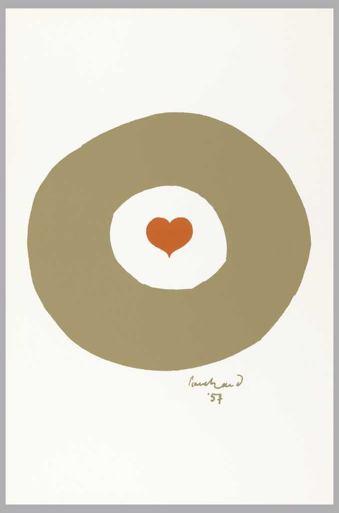 Small red heart enclosed in thick beige circle, center of page.