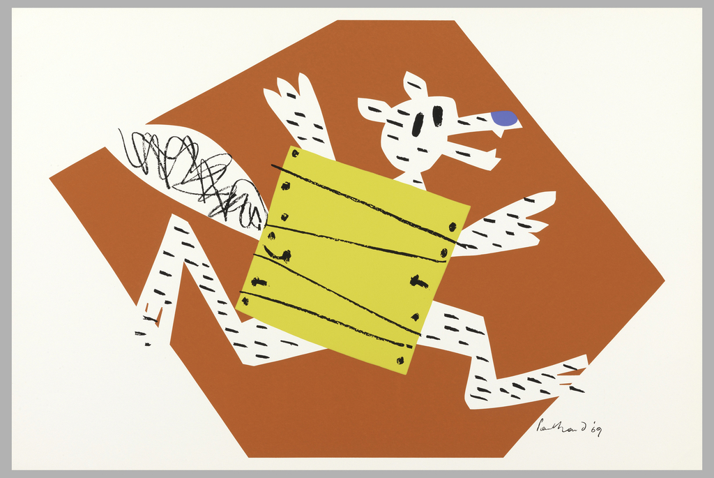 On off-white ground, imprinted in red, an irregular rectangle, cut off at upper and lower edges, fills most of the sheet.  Within the rectangle, in reserve, a running fox with black stripes, a black coiled tail, black eyes, and a blue nose.  Fox appears to be wearing a yellow wood box, (with horizontal black stripes and down left and right edges of box, black dots).