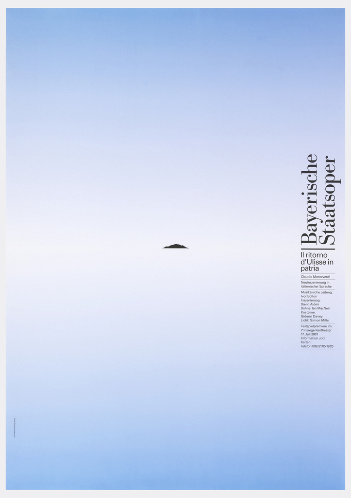 "Top half of poster is gradient from left to right, yellow to red. Bottom half of poster is black. In center, a yellow ring. Text at right in white down side reads: ""Bayerische Staatsoper/ Siegfried/ Richard Wagner "" with additional date and time information below."