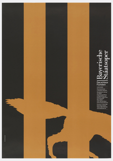 "Black poster with two large, orange stripes running vertically. In bottom half, same color as stripes, the back legs and tail of a wolf at right. Text at right in white reads: ""Bayerisch Staatsoper/ Das schlau/ Fuchslein"" with additional date and time information below."