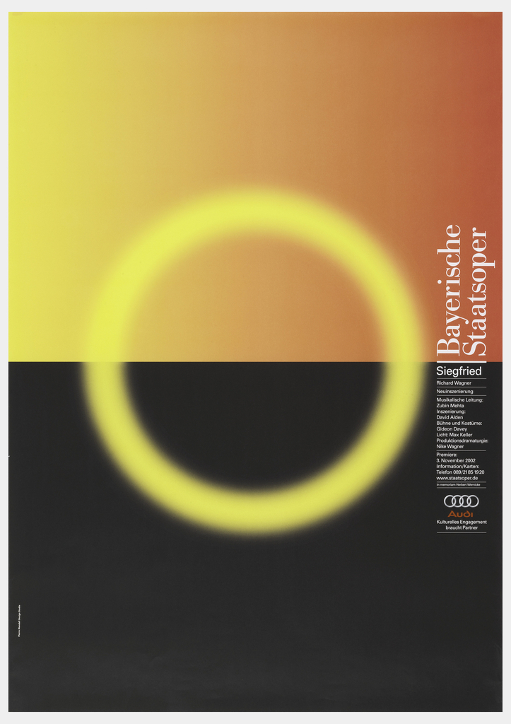 "Poster with blue to white to blue gradient (from top to bottom). In center, small black silhouetted hill (?). Text down right side in black reads ""Bayerische Staatsoper/Il ritorno d'Ulisse in Patria"" with additional date and time information below."