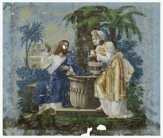 Horizontal rectangle, depicting Christ and the Woman of Samaria at the well in front of a  landscape including palm trees and architecture in the background. Printed on blue ground.