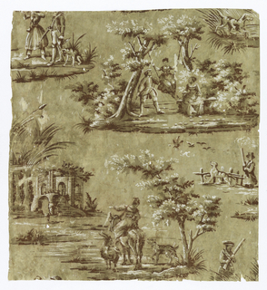 Incomplete vertical unit of design with figured scenes. Woman in swing hung between two trees, accompanied by man and woman; woman on donkey, accompanied by goat and dog, pointing to ruined building in marsh. Smaller vignettes of hunters and dogs.  Printed in white, dark red and brown on neutral brown ground.