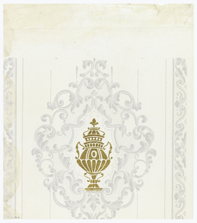 Against a glazed off-white ground is printed an elaborately scrolled single medallion enclosing a stencilled urn of gold leaf. Half borders of simple scrolls in grisaille at both edges of paper.