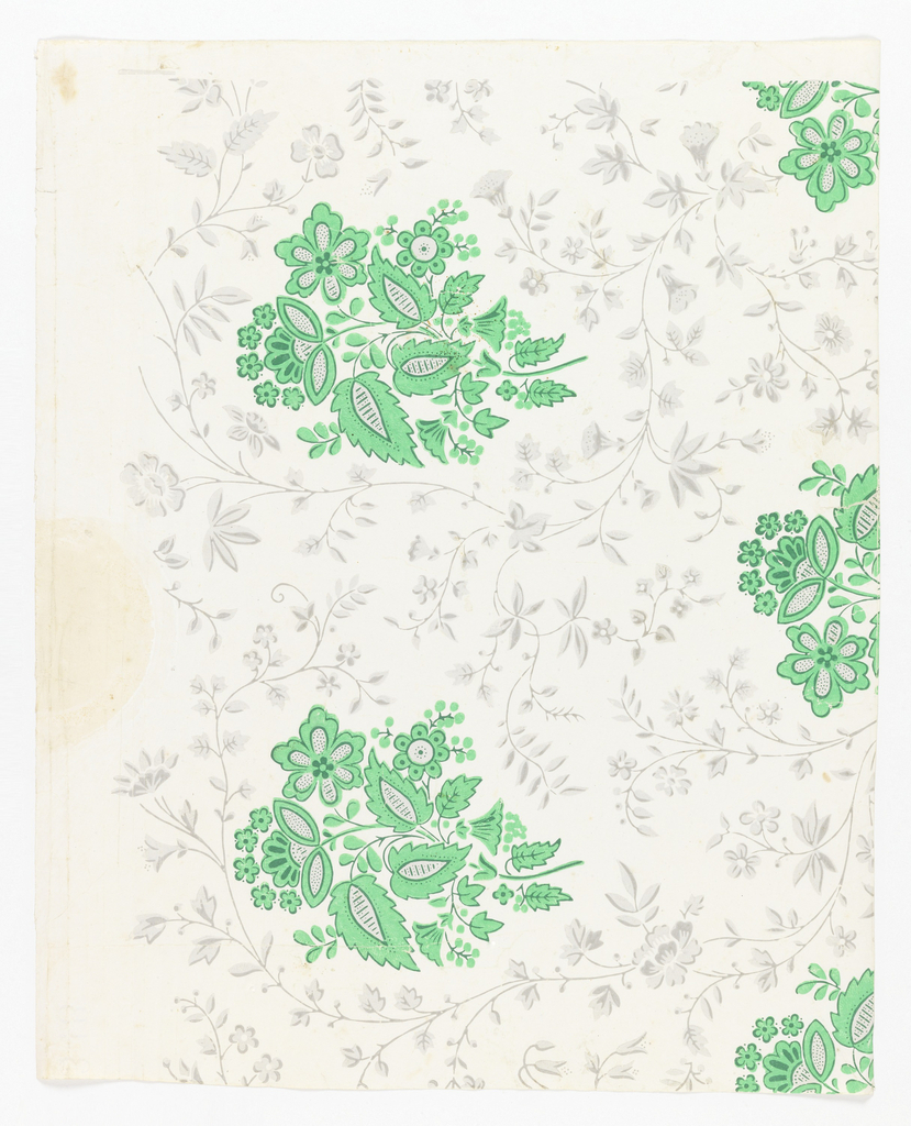 Against a glazed white ground are printed regularly spaced clusters of conventionalized blossoms and foliage in two values of green, possibly arsenic. An all-over design of serpentine vines with small blossoms and foliage in gray is printed between the green clusters.