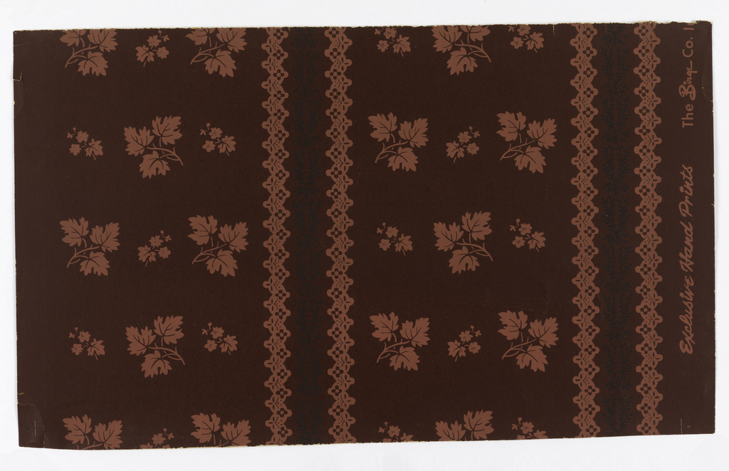 """Burgundy red background; leaf cluster and smaller leaf and flower cluster in pink repeated alternated and reversed in three regular vertical rows, these groupings interrupted by fine linear pattern of two intertwining black vines between two vertical lace-like pink bandings. Printed (in pink) on margin: """"Exclusive Hand Prints, The Birge Co., Inc."""""""