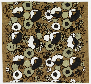 Stylized floral design with brown flock outlines, printed on cork background over metallic gold ground. Printed in white, taupe and black.