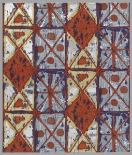 Orange grid pattern with orange diagonals and circles on blue, orange, yellow and purple on silver mylar ground.
