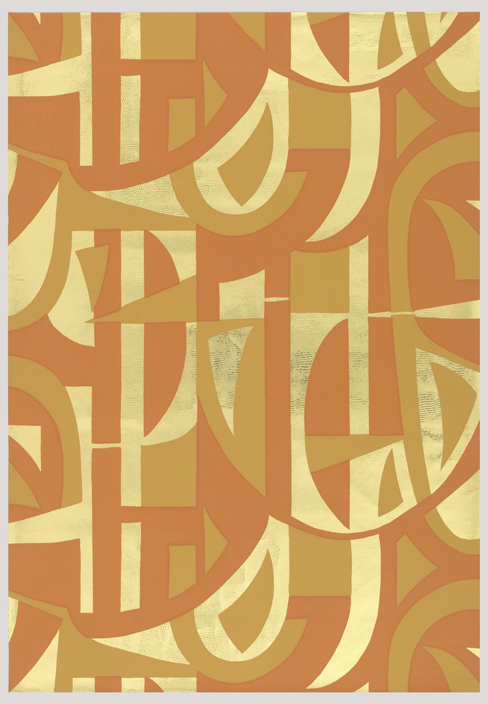 Abstract, geometric patterning in shades of orange on textured gold mylar ground.