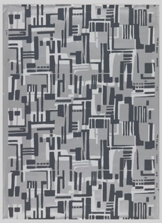 Geometric abstraction printed in dark gray and white on silver ground.