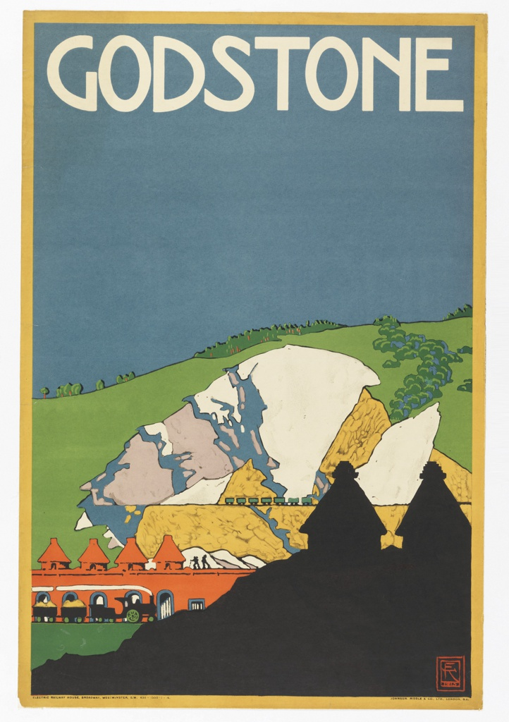 Poster design encouraging travel to Godstone via the London Underground. View of quarry with mountain in background, wagons, workers. Silhouetted building in foreground. At top in white text: GODSTONE