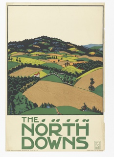 Poster design encouraging travel to The North Downs using the London Underground. A hilly landscape with fields in greens and browns enclosed by a square, black frame. Below, in lower margin, in green: THE / NORTH / DOWNS; with a line of small leaves.