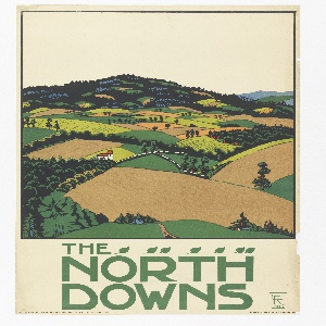 Poster design encouraging travel to The North Downs via the London Underground. A hilly landscape with fields in greens and browns enclosed by a square, black frame. Below, in lower margin, in green: THE / NORTH / DOWNS; with a line of small leaves.