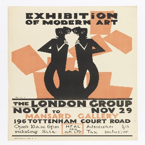 Poster design advertising The London Group's Exhibition of Modern Art. A double image of an abstract figures before a peach-colored grouping of rectangles. Above, in black: EXHIBITION / OF MODERN ART; below: THE LONDON GROUP / NOV 1 TO NOV 29 / MANSARD GALLERY / 196 TOTTENHAM COURT ROAD / Open 10a.m. 6p.m / including Sats HEAL AND SON LTD Admission 1/3. / Tax inclusive.