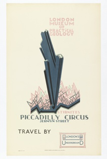"Poster design for the London Underground, advertising the London Musuem of Practical Geology (which can be reached by the railway). At center, a black and grey jagged abstracted ""stibnite"" rising out of a low jagged crystal-like form. Above, in pink and grey: LONDON / MUSEUM / OF / PRACTiCAL / GEOLOGY; below: STIBNITES / PICCADILLY CIRCUS / JERMYN STREET. At bottom: TRAVEL BY [a stamp of the London Underground]."