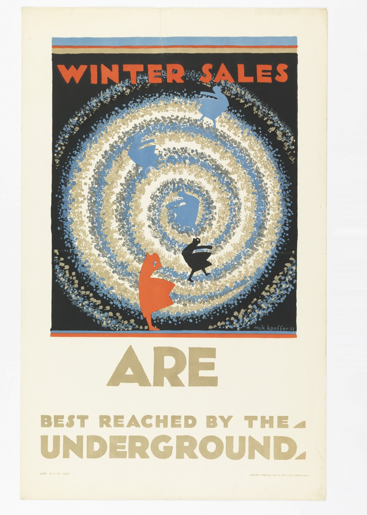 Poster design for the London Underground, advertising the shopping that can be reached by the railway. On a black ground, the eye of a snow-like tornado or spiral in blue, beige, and grey; silhouettes in blue, black, and orange of women in dresses that are being blown by wind. Above, in orange: WINTER SALES; below, in tan: ARE / BEST REACHED BY THE / UNDERGROUND.