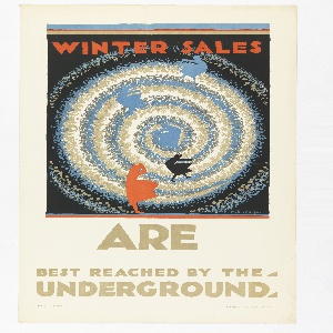 Poster design for the London Underground, advertising the shopping that can be reached by the railway. On a black ground, the eye of a snow-like tornado or spiral in blue, beige, and grey; silhouettes in blue, black, and orange of women in dresses that are being blown by wind. Above, in orange lettering: WINTER SALES; below, in tan lettering: ARE / BEST REACHED BY THE / UNDERGROUND.