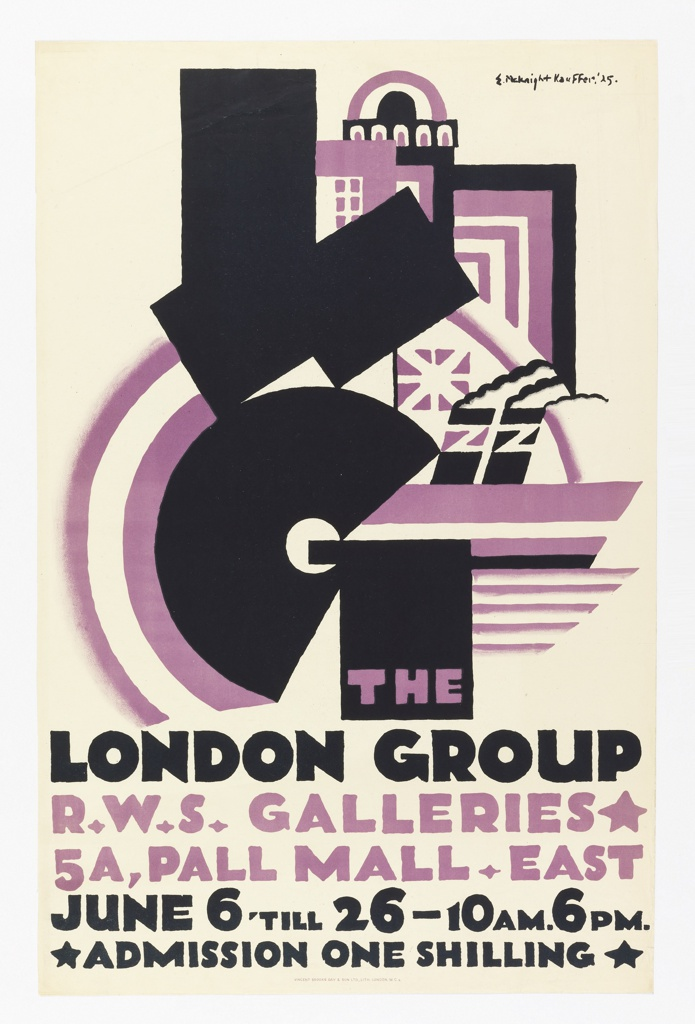Poster advertising the London Group's exhibition at R.W.S Galleries. Design in black and purple; abstract interlocking shapes and ship in background with large, abstracted, black letters: L G; below: THE / LONDON GROUP / R. W. S. GALLERIES / 5A, PALL MALL EAST / JUNE 6 'TILL 26-10AM.6PM. / ADMISSION ONE SHILLING.