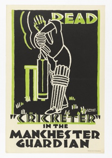 "White line drawing of a cricket player with green and white helmet on a black ground. Above, right: READ. Below: ""CRICKETER"" / IN THE / MANCHESTER / GUARDIAN."
