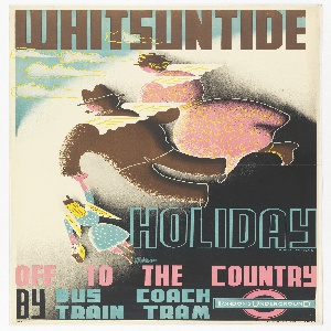 Poster design encouraging travel to the countryside for the summer holiday, Whitsuntide, via the London Underground. Poster depicts a woman in a pink dress, a man in brown suit, and a child in blue—all with their backs toward the viewer—flying with wings in the sky. Above in brown text: WHITSUNTIDE; below, in blue outline: HOLIDAY; in pink, black, and light blue: OFF TO THE COUNTRY / BY BUS COACH / TRAIN TRAM. [London Underground logo].
