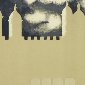 Poster design for the London Underground, advertising the Tower of London which can be reached by the railway. Poster depicts silhouettes of a castle and two towers in tan and cream, against a dark sky; trees are delineated in tan and water below. In lower margin, text in black and tan: [London Underground logo] / THE TOWER / OF LONDON.