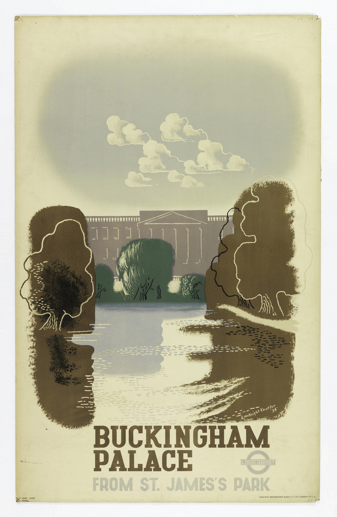 Poster design for the London Underground, advertising the view of Buckingham Palace from St. James's Park which can be reached by the railway. Poster depicts Buckingham Palace in tan, with trees in front of it. At bottom, in brown ink: BUCKINGHAM / PALACE [London Underground logo in gray]; below, in gray: FROM ST. JAMES'S PARK
