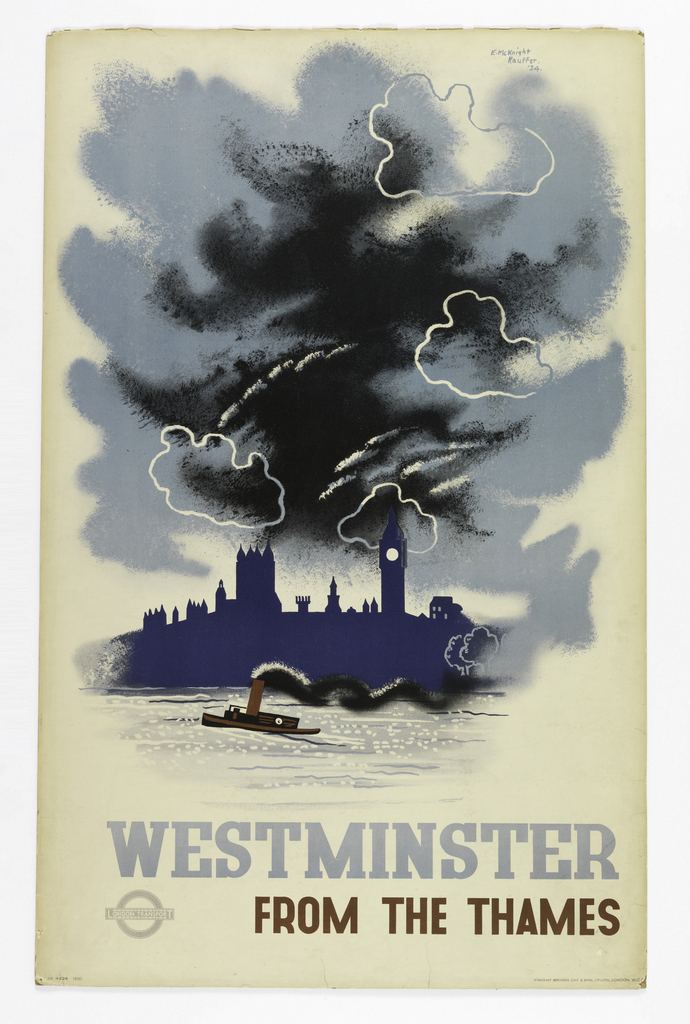 Poster design for the London Underground, advertising the view of the Palace of Westminster seen from the Thames River which can be reached by the railway. Poster depicts a silhouetted view of Westminster Abbey in blue across a river, under a dark sky. In the middle of the river, a steamboat goes by. In blue gray and brown: WESTMINSTER / [London Underground Logo] FROM THE THAMES