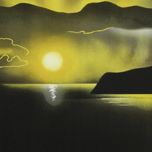 Poster design encouraging travel to Cornwall via the Great Western Railway. Poster depicts a landscape of hills along the coast with a setting sun, mountains in the background, all in black and yellow. Below in yellow outline and white: GO GREAT / WESTERN / TO CORNWALL.