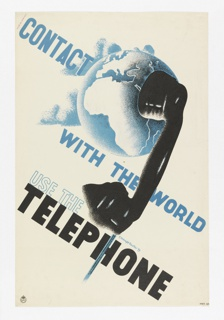 Poster depicts Earth with a large black handset against it. In blue ink: CONTACT / WITH THE WORLD / USE THE / TELEPHONE landscape of hills along the coast with a setting sun, mountains in the background, all in black and yellow. Below in yellow outline: GO GREAT / WESTERN / TO CORNWALL.