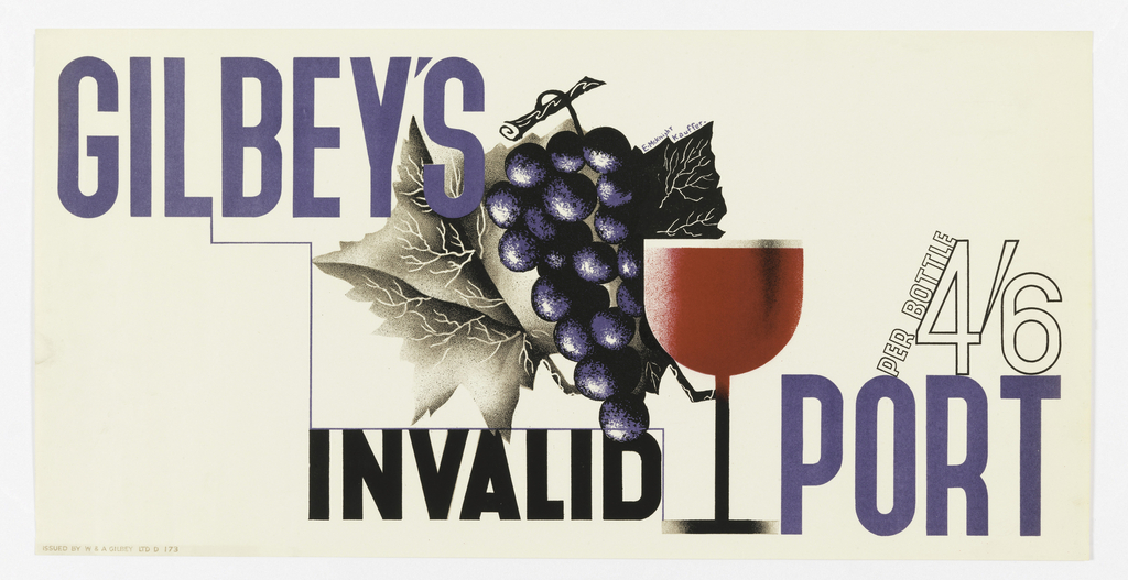 Poster advertisement for Gilbey's port wine. At center, a bunch of dark purple grapes and leaves, and a wine glass filled with red liquid. Text in purple and black: GILBEY'S / INVALID PORT; PER BOTTLE 4/6.