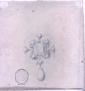 Four radially disposed shells form an escutcheon, containing a big diamond in the center; below, a hanging pear-shaped pearl. Smaller pearls between the shells.