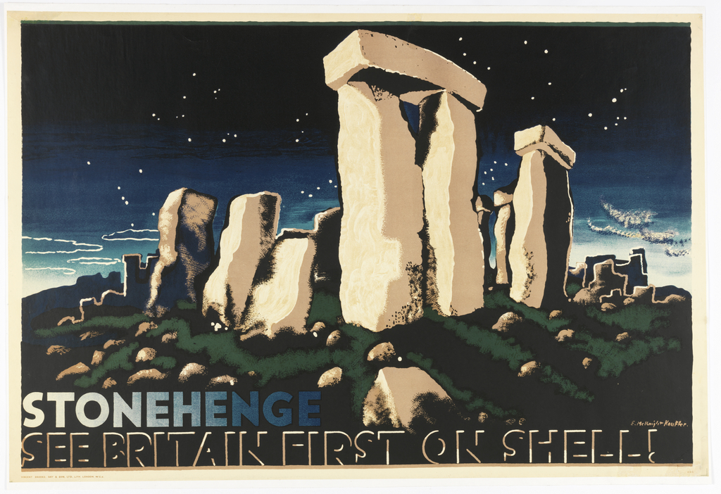 Poster for Shell-Mex and BP Ltd depicting a view of Stonehenge under a starry night sky. At lower left corner, text in white, which fades to blue: STONEHENGE; below, in black text outlined in beige: SEE BRITAIN FIRST ON SHELL!