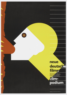 "Utilizing the German national colors, an Art Deco-like figure of Mercury spews out a visceral message - a reference perhaps to the charged atmosphere of the divided country's films in the era before Perestroika.  Bruhwiler's poster, in its Art Deco classicism, makes a pointed reference to Cassandre's masterful design for a French newspaper, Intransigeant. Text in bottom right in black and white reads: ""neue/ deutsche/filme/film-/podium"" with additional date and time information."