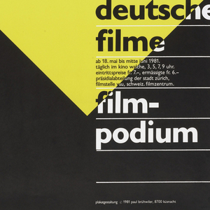 """Utilizing the German national colors, an Art Deco-like figure of Mercury spews out a visceral message - a reference perhaps to the charged atmosphere of the divided country's films in the era before Perestroika.  Bruhwiler's poster, in its Art Deco classicism, makes a pointed reference to Cassandre's masterful design for a French newspaper, Intransigeant. Text in bottom right in black and white reads: """"neue/ deutsche/filme/film-/podium"""" with additional date and time information."""