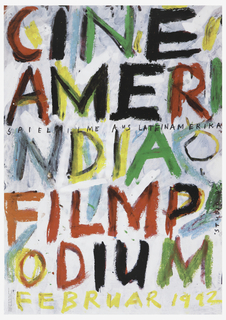 "Large text across poster from top left to bottom right, in red, black, green, grey and orange, which reads: ""CINE/AMERI/NDIA/FILP/ODIUM"""