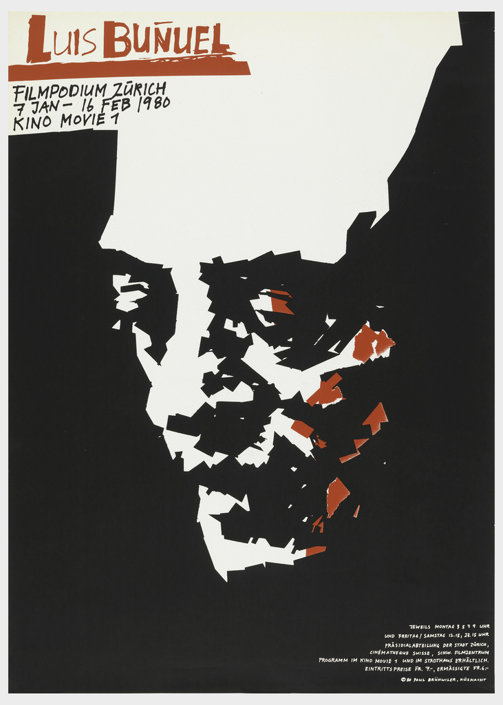 """Black poster with a man's face composed of jagged sections and shapes in white and red. At left in top, red text reads: """"Luis Bunuel"""" with black text below which reads: """"Filmpodium Zurich/ 7 Jan - 16 Feb 1980/ Kino Movie 7."""" Additional text in bottom right corner in white."""