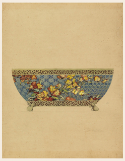 A jardinière decorated with plum blossoms on a blue and white diaper-patterned ground in imitation of a porcelain body with a scrollwork band imitating a tortoiseshell mount, around the upper edge and the base.  Feet in the shape of gourds with small leaves and vines support the vessel.