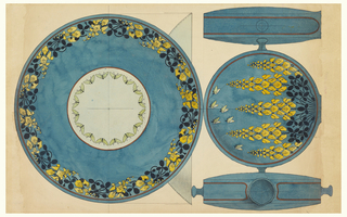 A pitcher in the shape of a pilgrim's flask with small, knob handles occupies the upper half of the sheet. The vessel has a peacock-blue body and is decorated with suspended yellow wisteria blossoms and six flying moths below.  The vessel is illustrated in elevation from both sides and also seen in plan.  The pitcher is trimmed by a thin red border on all sides.  A matching footed basin in plan and elevation occupies the lower half of the sheet.  A ring of smaller yellow wisteria blossoms creates a wide border around the basin, while the bowl is pale green bordered by darker green moths.  The bowl and basin rim are trimmed with red.