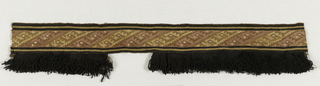 Horizontal band probably used originally as lower border of a poncho. Black wool looped fringe sewed on lower edge. Band of conventionalized bird design, running in diagonals in rose, yellow, brown wools and white cotton wefts. Warps of brown cotton. Wefts used several at a time and floated out on back of fabric for width of diagonal. One section on fringe missing.