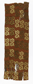 Five tapestry-woven strips stitched together with highly stylized snake design in tan and dark brown on red background.