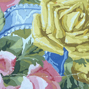 Border corner, large: areas of gray and white grounds divided by large pink and yellow roses, blue ribbon loops.