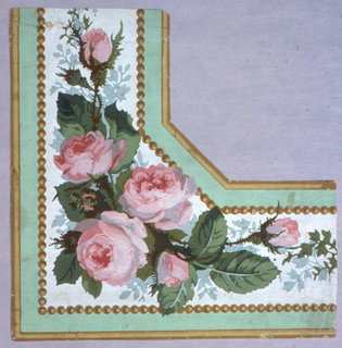 Border corner: green banding edged in shaded gold line and beading on either side of white ground, corner cluster of pink roses, buds.