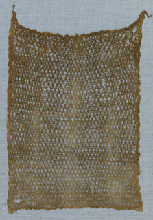 Self-contain square fragment with edges continuous with field. Two parallel warps cross next pair to form an allover trellis loosely spanned by basic wefts.